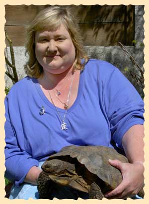 Lisa with her young desert tortoise Ewok